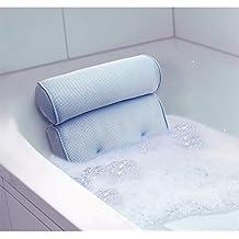 Reposacabezas para bañera, 35x 32cm, fibras aireadas antihumedad, color azul