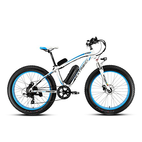 Cyrusher® Extrbici XF660 48V*500W Mans Electric Bike Mountain Bike Powerful motor 7 Speeds Electric Bicycle Hydraulic Disc Brakes (blue)