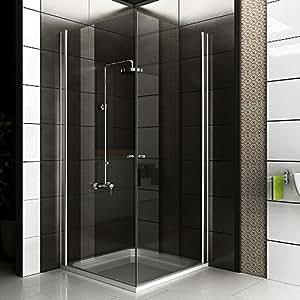 komplette dusche mit eckeinstieg aus esg echtglas 90x90x195 cm von alpenberger baumarkt. Black Bedroom Furniture Sets. Home Design Ideas