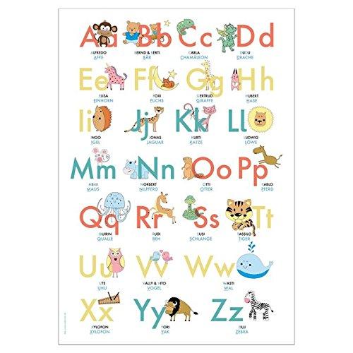 ABC Poster 70,7x100 cm | Alphabet spielerisch mit Tieren lernen | Das ABC-Lernposter mit Groß- und Kleinbuchstaben |: ABC-Plakat fürs Kinderzimmer im DIN B1 Format | Stay Inspired! by Lisa Wirth