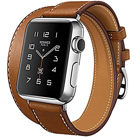 N. Oranie Apple Watch Band 4 piezas de Bandas incluido para 2 longitudes Funda de piel correa de muñeca con seguro cierre de metal inoxidable Repuestos para Apple iWatch todos Modelo Sport & Edition 38 mm/42 mm (Art Series Platinum)