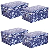 Storage Box with Blue Flower Pattern (LxWxH): approx. 40 x 30.2 x 18 cm - 22 Litres Set of 4