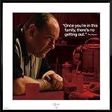 Die Sopranos Poster Kunstdruck und Kunststoff-Rahmen - Bist Du Erst In Dieser Famile Gibt Es Keinen Weg Raus, Tony Soprano (40 x 40cm)