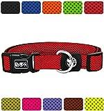 DDOXX Hundehalsband Air Mesh in vielen Farben & Größen für kleine & große Hunde | Halsband Hund Katze Welpe | Katzenhalsband klein | Hunde-Halsbänder breit Leuchtend | Rot, M