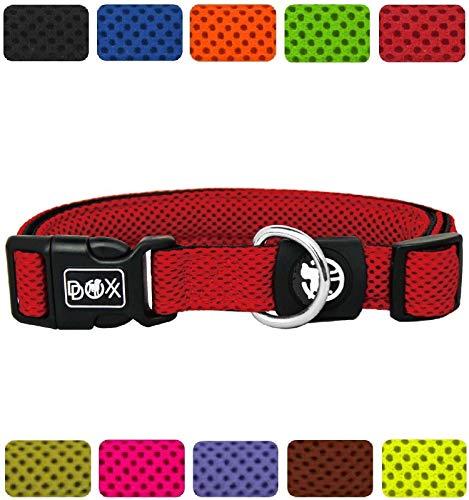 DDOXX Hundehalsband Air Mesh in vielen Farben & Größen für kleine & große Hunde   Halsband Hund Katze Welpe   Katzenhalsband klein   Hunde-Halsbänder breit Leuchtend   Rot, M