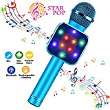 ShinePick Karaoke Microphone, 4 in 1 Wireless Bluetooth Dancing LED Lights Handheld Portable