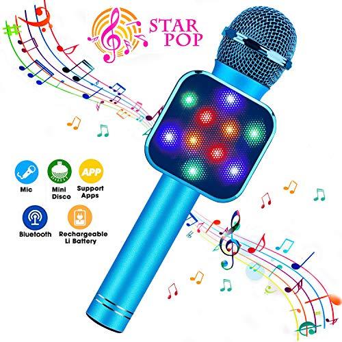 BlueFire Karaoke Mikrofon, Bluetooth Mikrophon Kinder, Lautsprecher Dynamisches Licht Drahtlose Tragbares Handmikrofon mit Aufnahme für Erwachsene und Kinder, Kompatibel mit Android IOS PC(Blau)
