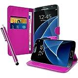 Housse Etui Coque Portefeuille en Cuir Fuchsia Pour Samsung Galaxy S7 Edge SM + STYLET OFFERT !