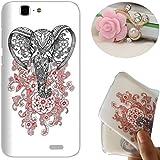 Rockconcept Huawei Ascend G7 Funda, Serie del Elefante Diseño [Con Gratis Tapón de Polvo] Protectiva Carcasa de Silicona Gel TPU Funda Cover Carcasa Case Cover para Huawei Ascend G7 (Elefante de la flor)