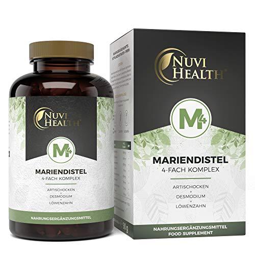 Nuvi Health® Mariendistel 4-fach Komplex - Einführungspreis - Mit Artischocke + Löwenzahn + Desmodium + Piperin - 120 Kapseln - 80% Silymarin & 2,5% Cynarin - Hochdosiert