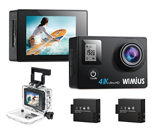 WiMiUS Actioncam 4k Kamera Action Dual Bildschirm 2 Akkus HD Action Cam Wifi 16MP Actionkamera 40M Wasserdichte Helmkamera mit Ersatzakku Ladegerät und Beutel(Q4 Schwarz)