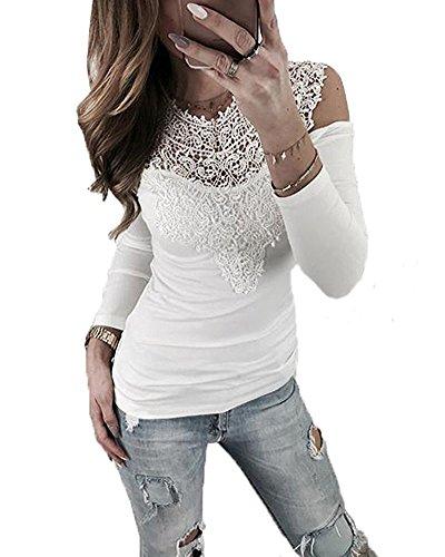Minetom Damen Langarmshirt Sexy Langarm Spitze Hemd Shirts Schulterfrei Spitzenbluse Slim Fit Sweatshirt Oberteil Bluse Tops Weiß DE 38