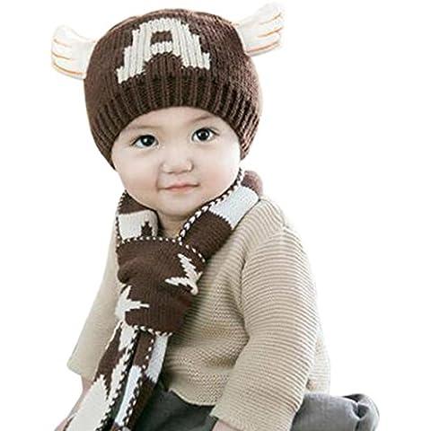 Koly Bebé lindo niños niñas estrellas impresión cálida bufanda tapas conjunto (Café)