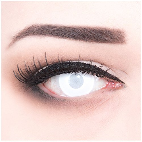 Meralens Blind White komplett weiße Kontaktlinsen Zombie Zombi weisse farbige Motivlinsen Jahreslinsen inklusive Gratis Behälter Plain White Eyes Colour Contact Lenses Color Contacts. Für Fasching, Karneval