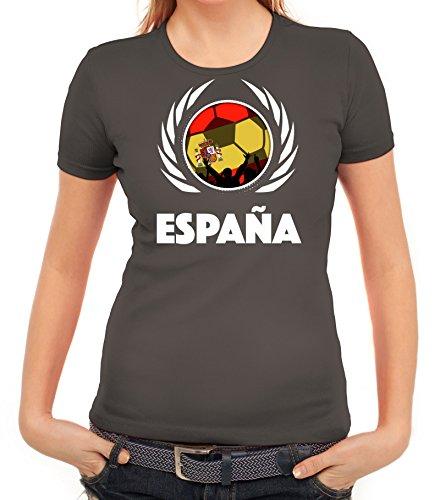 ShirtStreet Espana Spain Soccer Fussball WM Fanfest Gruppen Fan Wappen Damen T-Shirt Fußball Spanien Dunkelgrau