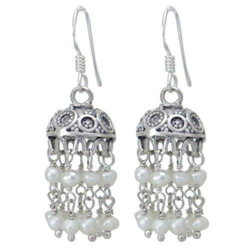 Banithani 925 Sterlingsilber Jhumka Drop handgemachte Ohrringe set Geschenk für Frauen