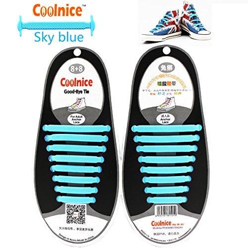 Coolnice No Tie Shoelaces for Adults DIY 16pcs- Environmentally safe Waterproof Silicon- Color of Red Cielo blu