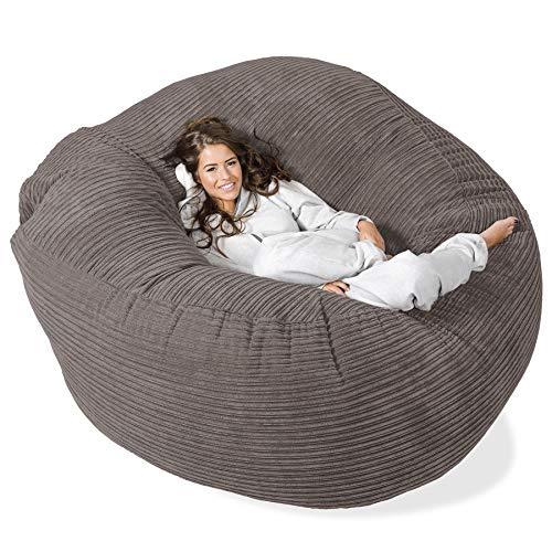 Lounge Pug®, \'Mega-Mammoth\' Sofa Sitzsack XXL, Schlafsofa, Cord Schiefergrau