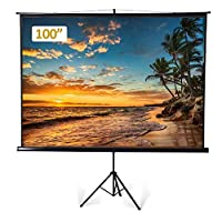 Projector Screen Portable 100 Inch Diagonal Projection HD 4:3 Projection Pull Up Foldable Stand Tripod