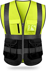KKmoon SFVest High Visibility Reflective Safety Vest Reflective Vest Multi Pockets Workwear Security Working Clothes Day Nigh