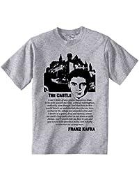 Teesquare1st Men's FRANZ KAFKA THE CASTLE QUOTE Grey T-Shirt