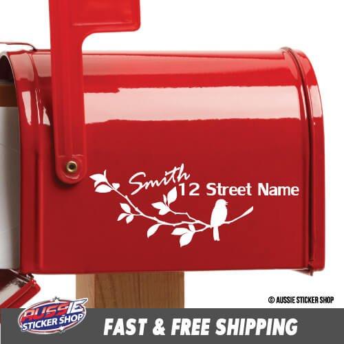 CUSTOM ADDRESS & SURNAME BIRD MAILBOX STICKER Decal Car Vinyl Personalized Text