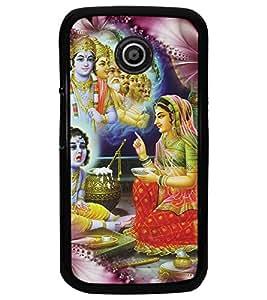PrintDhaba Lord Krishna D-4534 Back Case Cover for MOTOROLA MOTO E (Multi-Coloured)