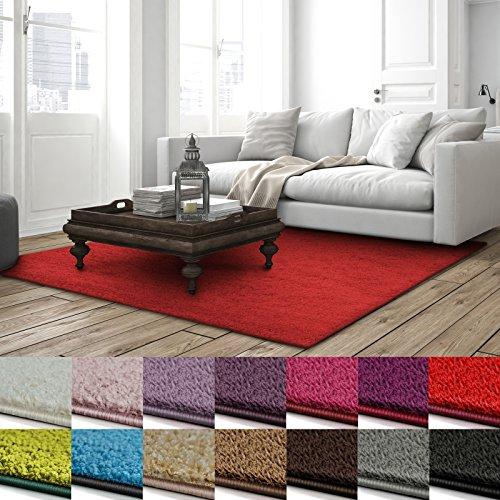 casa pura Shaggy Teppich Barcelona | weicher Hochflor Teppich für Wohnzimmer, Schlafzimmer, Kinderzimmer | GUT-Siegel + Blauer Engel | Verschiedene Farben & Größen | 200x200 cm | Rot