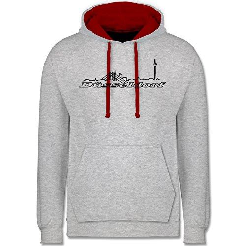 Skyline - Düsseldorf Skyline - Kontrast Hoodie Grau Meliert/Rot