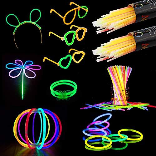 Vegena Knicklichter 200 Stück, Leuchtstäbe Armbänder Armreifen Glowstick Partylichter inkl. 200 x 2D-Verbinder, 4 x Kreisverbinder, 4 x 7-Loch-Verbinder Hochzeit Party Deko Set Zubehör