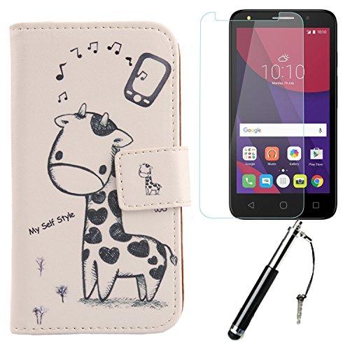 Lankashi 3in1 Giraffe PU Flip Leder Tasche Für Alcatel One Touch Pixi 4 3G 5010D 5