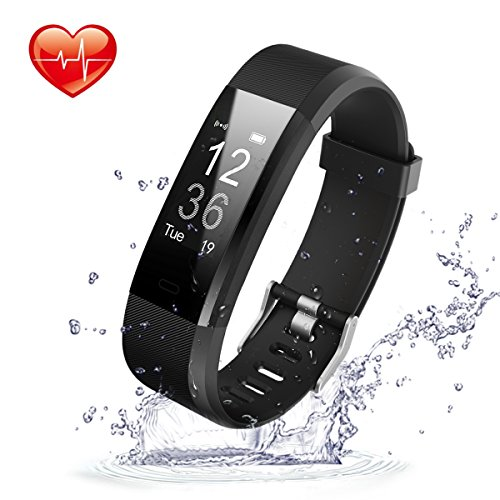 Fitness tracker HR,Movaty ID115 Plus Smart bracciale, impermeabile sport fitness IP67,Cardiofrequenzimetro,Pedometro,calorie counter,chiamate SMS promemoria,Bluetooth 4.0,iPhone Android Smartphone