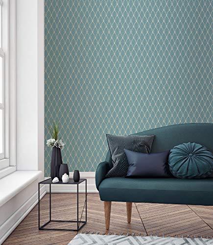 Superfresco Easy Blue Bercy Metallic Art Deco Tapete