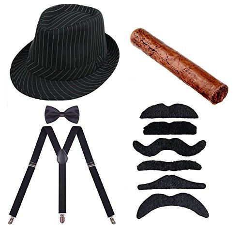 (ECOSCO 1920er Herren Kostüme Manhattan Fedora Hat Strapse Fliege Fake Zigarre Gangster Fancy Zubehör Kostüm Kits Schwarz)