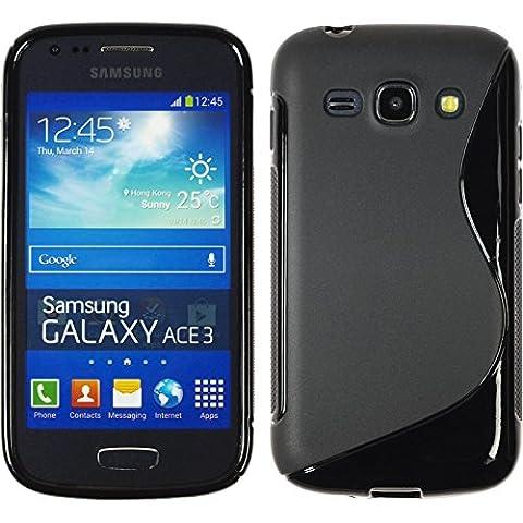 Coque en Silicone pour Samsung Galaxy Ace 3 - S-Style noir - Cover PhoneNatic Cubierta + films de protection