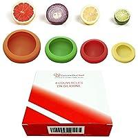 ✮CuisineDuChef✮ Tapas flexibles de silicona, juego de 4, protectores reutilizables, conservadores
