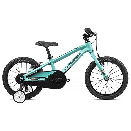 ORBEA MX 16 Zoll MTB Kinder Fahrrad 1 Gang Rad Aluminium Kids Mountain Bike Jungen Mädchen, J00716, Farbe türkis