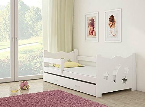 Clamaro 'Sternenhimmel' Kinderbett Komplett Set 160 x 80 cm inkl. Matratze, Lattenrost und Bettkasten Unterbett Schublade auf Rollen, extra Rausfallschutz Seitenteil (verstellbar), Design: (Günstige Jugendbetten)
