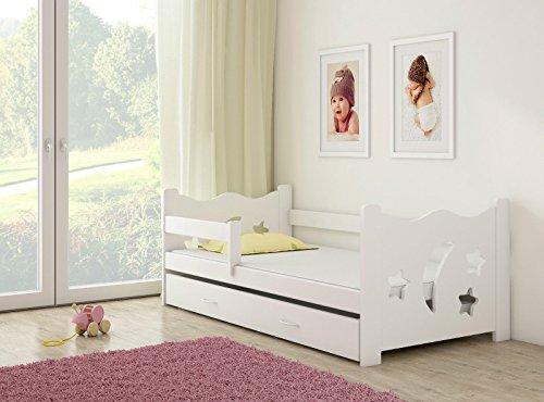 *Clamaro 'Sternenhimmel' Kinderbett Komplett Set 160 x 80 cm inkl. Matratze, Lattenrost und Bettkasten Unterbett Schublade auf Rollen, extra Rausfallschutz Seitenteil (verstellbar), Design: Weiß/Weiß*