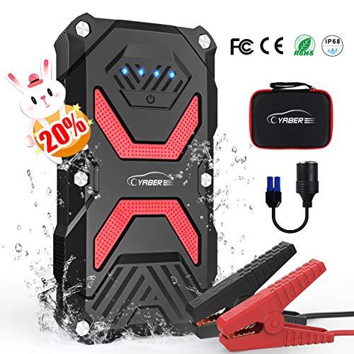YABER Avviatore Batteria per Moto/Auto, 1000A 13800mAh Avviatore Emergenza per Auto (Fino a 5,0L a Benzina o Diesel da 3,0L) 12V Jump Starter Impermeabile IP67 Power Bank, Torcia LED