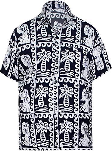 LA LEELA Casual Hawaiana Camisa para Hombre Señores Manga Corta Bolsillo Delantero Surf Palmeras Caballeros Playa Aloha L-(in cms):111-121 Azul Marino_W523