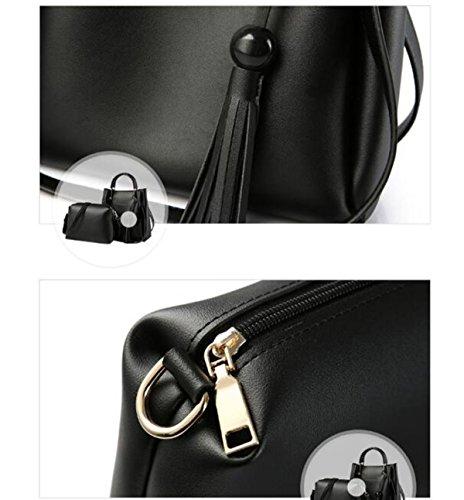 QPALZM Womens PU Top Handtasche Tube Satchel Style Tassel Reißverschluss Verschluss 2 Packungen A2