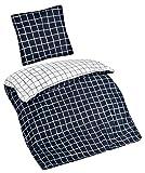 Aminata – moderne Bettwäsche 135x200 cm Baumwolle Reißverschluss Karo Muster Blau Weiß karierte Bettbezug kariert Vierecke Wendebettwäsche 2-teiliges Bettwäscheset Bezug Ganzjahr Normalgröße