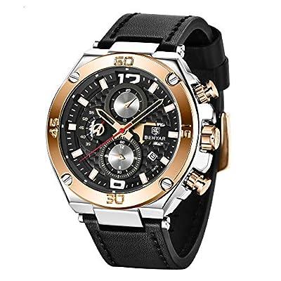 Reloj de Hombre BENYAR cronógrafo Resistente al Agua con Correa de Cuero de Cuarzo analógico Reloj de Pulsera para Hombre