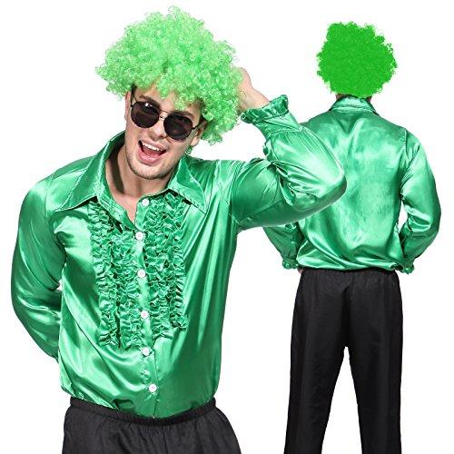 Anladia Herren Kostüm Disco Shirt Satin Disco Schlager Star Kostüm Rüschenhemd Herrenmode ()