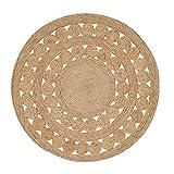 Green Decore Handgefertigte geflochtene runde Naturfaser Jute Teppich, Natur (120 cm Durchmesser, Excel natürlich)