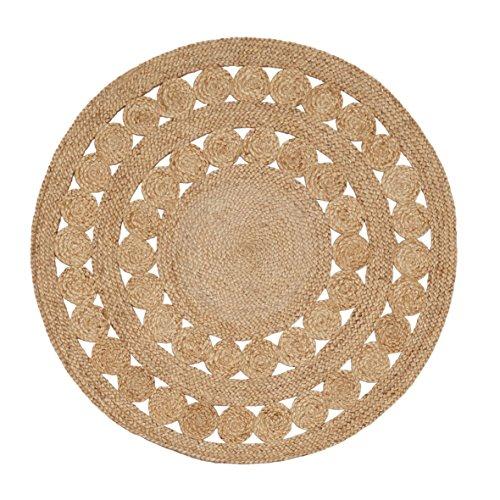 Handgefertigte geflochtene runde Naturfaser Jute Teppich, natur (120 cm Durchmesser, Excel natürlich) (Natürliche Natur Teppich)