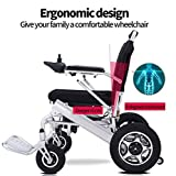 RDJM Deluxe Electric Wheelchair Motorized Fold Foldable Power Wheel Chair, Lightweight Folding Carry Electric Wheelchair, Powerful Dual Motor