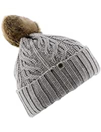 UGG Womens Textured Cuff Hat With Fur Pom