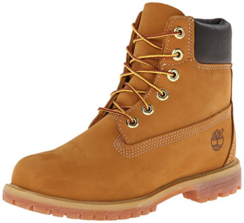 Timberland 6 in Premium Waterproof (Wide Fit), Botas para Mujer, Amarillo (Wheat Nubuck), 38 EU